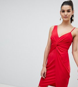 Read more about Flounce london knot detail mini wrap dress - red