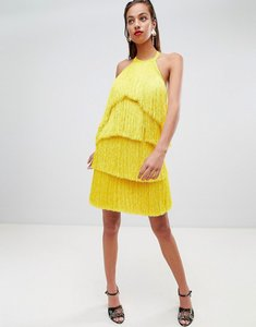 Read more about Asos design premium fringe halter tassel back mini dress - yellow