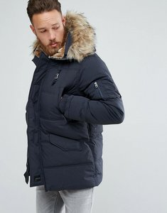 Read more about Schott snork quilted parka hooded detachable faux fur trim in navy - navy