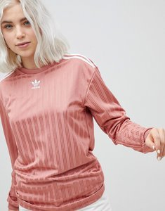 Read more about Adidas originals three stripe long sleeve top in pink - pink