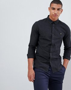 Read more about Farah steen slim fit textured shirt in dark grey - grey
