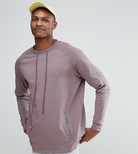 Read more about Asos tall oversized longline sweatshirt with drawcord neck and zip pockets - violet grey