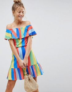 Read more about Asos off shoulder sundress with tiered skirt in rainbow stripe - stripe