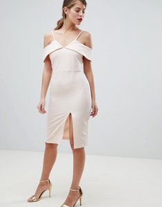 Read more about Oasis cold shoulder bodycon midi dress - nude