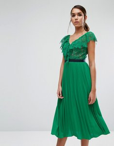 Read more about Three floor midi dress with pleated skirt and frill detail - green