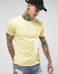 Read more about Brave soul basic raw edge t-shirt - yellow