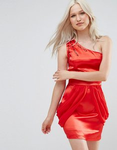 Read more about Jasmine one shoulder dress with drape side - red