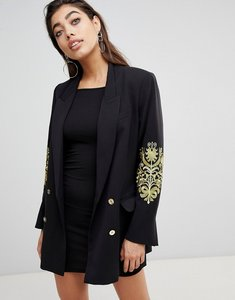 Read more about Ivyrevel double breasted blazer with embroidery at sleeves - black gold