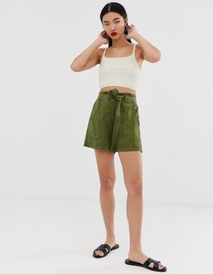 Read more about Stradivarius tie waist high waist shorts in green