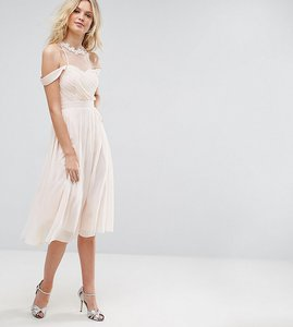 Read more about Little mistress tall cold shoulder pleated bust midi dress with lace applique neck detail - nude