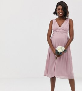 Read more about Tfnc maternity bridesmaid exclusive wrap front midi dress with tie back in pink