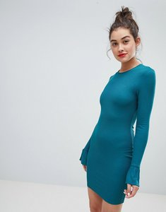Read more about Asos mini rib bodycon dress with frill cuffs - green