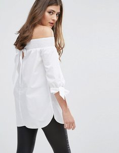 Read more about Miss selfridge barot tunic top - white