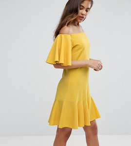 Read more about John zack tall off shoulder mini dress with fluted hem detail - yellow