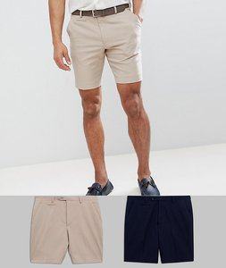 Read more about Asos 2 pack slim mid length smart shorts in stone and navy save - stone navy