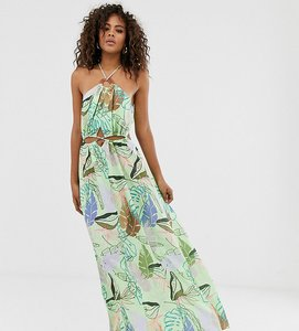Read more about Asos design tall halter neck cut out maxi dress with trim detail in tropical print