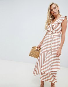 Read more about Forever new assymmetric midi dress with frill detail in stripe - pink stripe