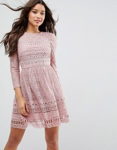 Read more about Asos premium lace skater dress - mink