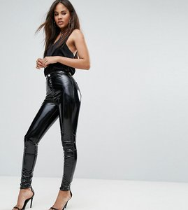 Read more about Asos tall rivington high waisted denim jegging in vinyl effect - black