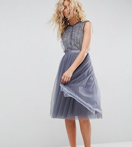 Read more about Needle thread embellished midi tulle dress - vintage blue
