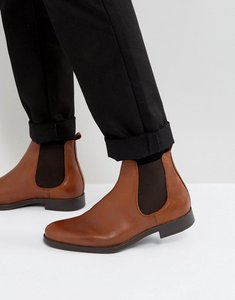 Read more about Selected homme oliver leather chelsea boots in brown - brown