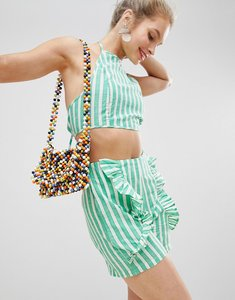 Read more about Glamorous high neck crop top with tie back in candy stripe co-ord - green