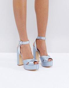 Read more about Office harley satin platform sandals - blue