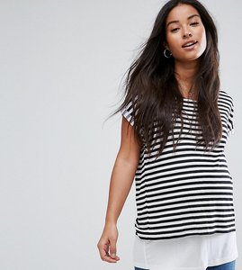 Read more about Asos maternity nursing t-shirt with double layer in stripe - black white
