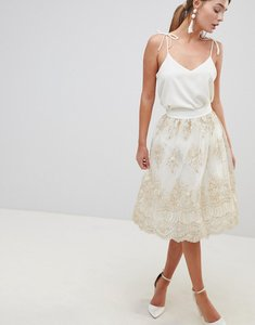 Read more about Chi chi london midi skirt in premium lace - cream gold