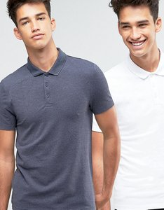 Read more about Asos 2 pack pique muscle polo shirt in white navy marl save - multi