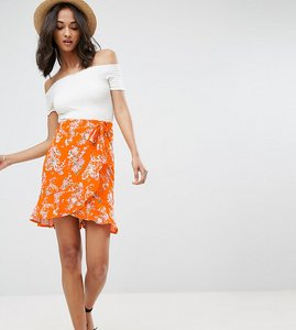 Read more about Asos tall wrap mini skirt with tie waist in ditsy print - multi