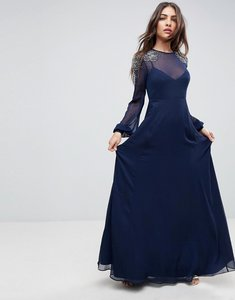 Read more about Asos sheer sleeve maxi dress with embellished shoulder detail - navy