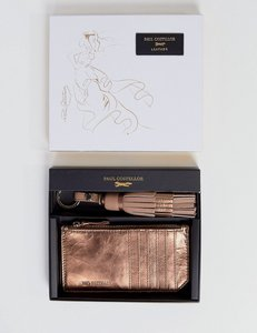 Read more about Paul costelloe real leather metallic detail tassle key ring and card pouch gift set - pink