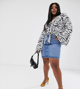 Read more about Asos design curve denim original high waisted skirt in stonewash blue - blue