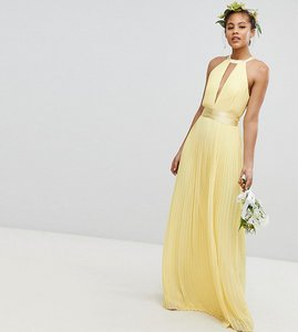Read more about Tfnc tall pleated maxi bridesmaid dress with cross back and bow detail - pastel yellow