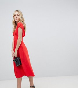 Read more about Asos design tall button through midi dress with bow back detail - orange