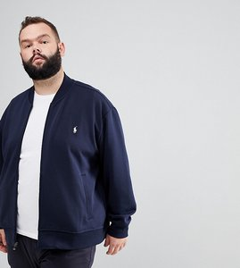 Read more about Polo ralph lauren big tall full zip sweat bomber player logo in navy - aviator navy