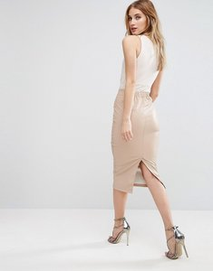 Read more about Asos sculpt me leather look pencil skirt - nude