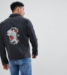 Read more about Liquor n poker embroidered koi and crane denim jacket - black