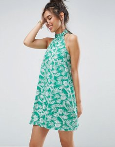 Read more about Asos halter swing sundress in green palm print - green palm print