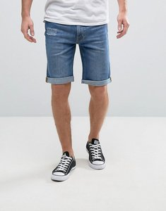 Read more about Hoxton denim vintage mid wash shorts in slim fit with rolled hem - blue