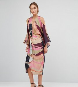 Read more about Asos tall abstract kimono midi dress - multi