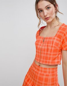 Read more about Unique 21 square neck fitted top with zip front in check co-ord - orange check