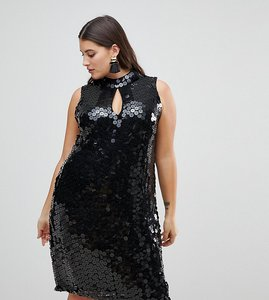 Read more about Lost ink plus high neck swing dress in sequin - black