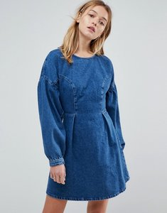 Read more about Asos denim balloon sleeve dress in midwash blue - blue