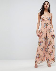 Read more about Asos jumpsuit with back detail in soft floral print - pink