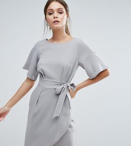 Read more about Closet london tie front dress with kimono sleeve - light grey