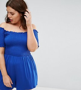 Read more about Asos curve off shoulder playsuit with shirred body - cobalt
