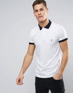 Read more about French connection polo shirt with contrast collar and cuff - white