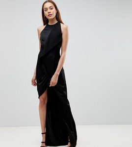 Read more about Aq aq tall wrap front maxi dress with asymmetric split detail - black